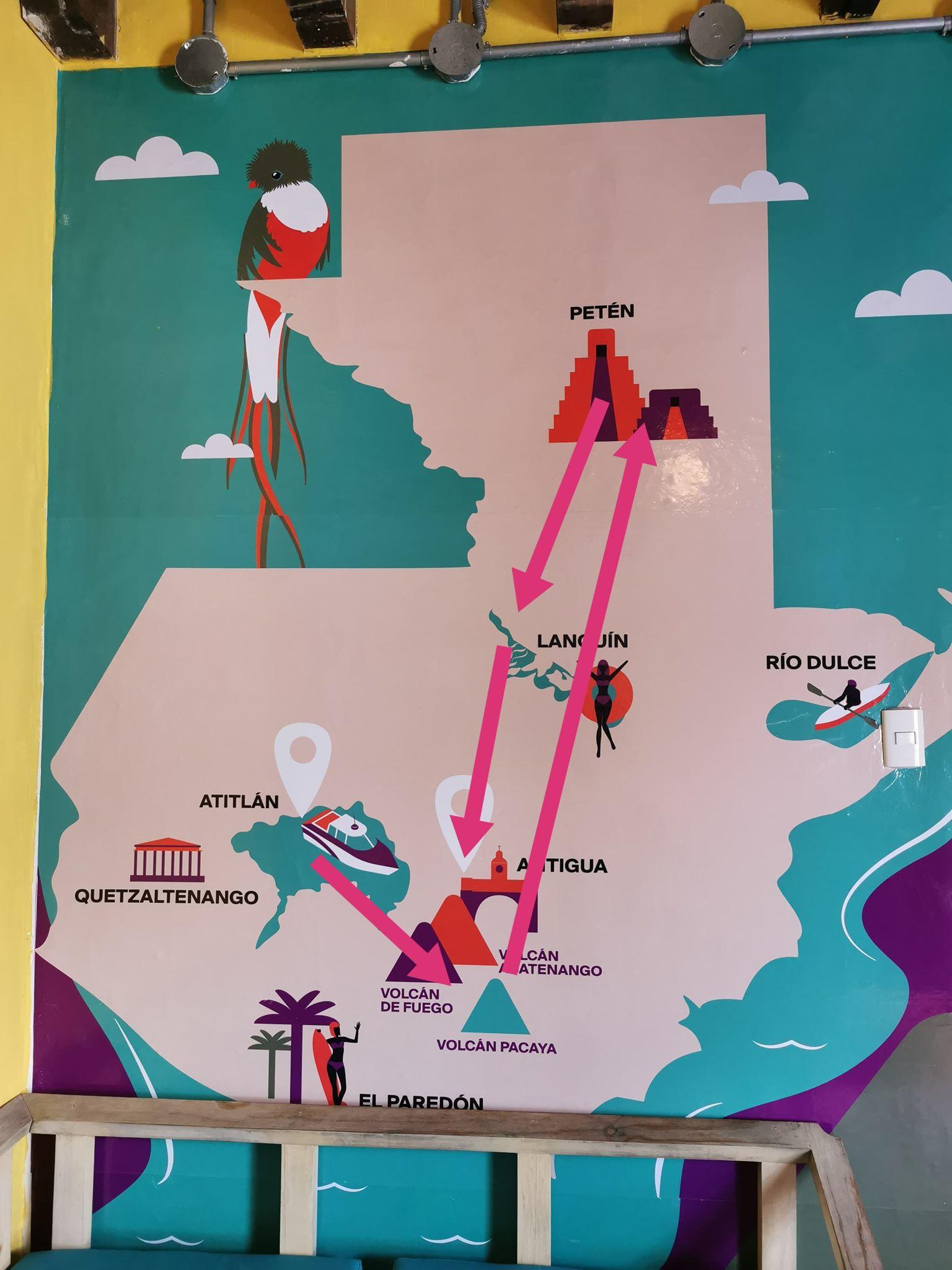 carte touristique du guatemala